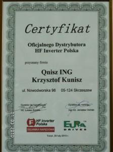 ceryfikat dla Qnisz ING oficjalnego dystrybutora HF Inverter Polska